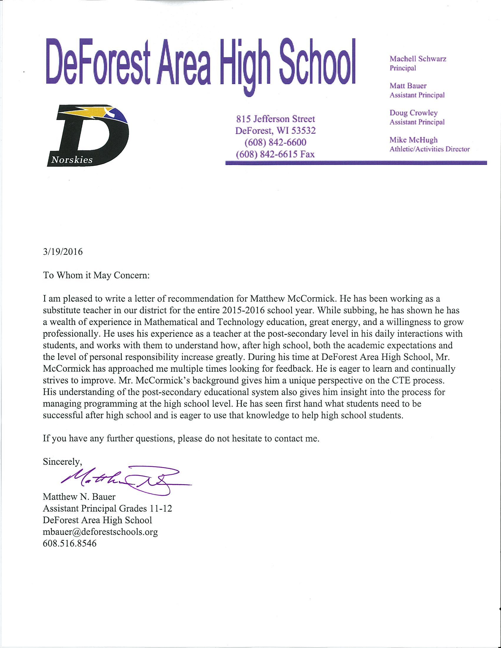letter of recommendation for an assistant principal   Hadi.palmex.co